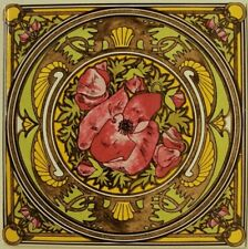 "Nightly Rest Floral Tile 6"" Mucha Ladies Art Nouveau Tile Hand Decorated in UK"