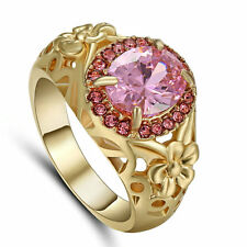 Amazing Size 8 Gorgeous Pink Topaz 10K Gold Filled Engagement Rings For Women