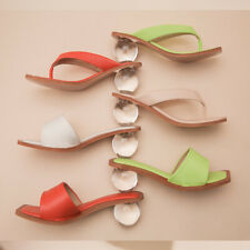 Ladies Chunky Clear Heels Slide Slippers Square Toe Sandals Sexy Party Club Shoe