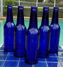 NICE LOT 5 COBALT BLUE GLASS BEER BOTTLES FOR VASES BOTTLE TREES CRAFTS HERBS