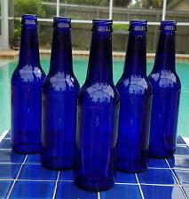 NICE LOT 5 COBALT BLUE GLASS BEER BOTTLES FOR VASES BOTTLE TREES CRAFTS HERBS
