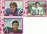 Baltimore Colts Lot of 3 different 1972 Topps football Cards partial team set