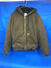 Carhartt Coat Quilted Flannel Lined Full Zip Hooded Denim Work Jacket Sz L Brown
