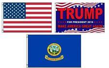 3x5 Trump 2016 & Usa American & State of Idaho Wholesale Set Flag 3'x5'