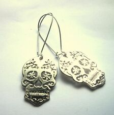 Halloween Sugar Skull Earrings Silver Plated Day of the Dead Goth Jewellery