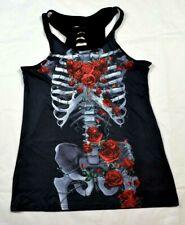 Vest Top Size 12-14 Skeleton Punk Emo Rockabilly Pinup