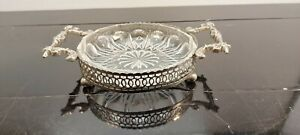 A Vintage Silver Plated/glass Preserve Dish With Elegant Patterns