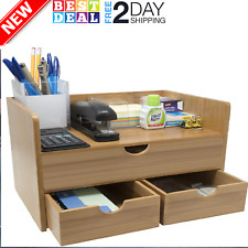 Sorbus 3-Tier Bamboo Shelf Organizer for Desk with Drawers for Office Supplies..