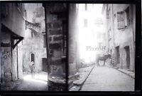 Scène de Rue Fille Cheval c1900 NEGATIF 2 Photos Stereo sur la même Plaque Verre