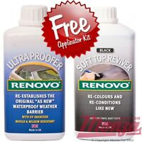 Renovo *BLACK* Convertible Soft Top Hood Dye Reviver & Water Proofer 500ml Kit