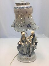 Victorian Colonial Figurine Lamp Man & Lady Porcelain Shade