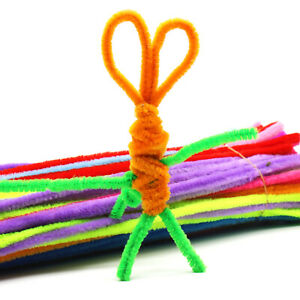 100x Kids Colorful Diy Plush Chenille Sticks Stems Pipe Cleaner Educational Toys