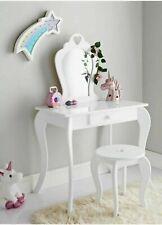 Amelia Vanity Children Kids Wooden Set Dressing Table With Mirror & Stool White