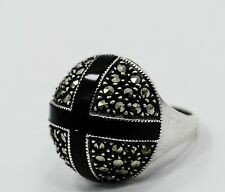 VINTAGE STERLING SILVER ROUND MARCASITE RING ANTIQUE HANDCRAFTED