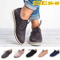 Womens Lace Up Casual Brogues Flat Pumps Ladies Soft Work Loafers Shoes UK Stock