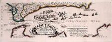 Antique map, Die Fahrt von Cadiz nach Malaga
