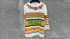 $625 Paul Smith White Embroidered Floral Peace Stripe Hockey Top T-shirt size S
