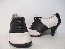 Bass Womens Glenbrook Leather Lace Up Saddle Shoe Heels Cream/Black Size 6 - 8.5