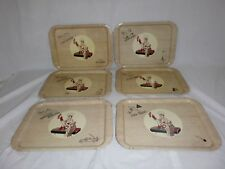 Set of 6 Vtg Tin Litho Metal Barbecue BBQ Serving Trays Kitchy Kitsch
