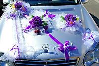 Autogirlande Autoschmuck Autodeko Hochzeitauto Girlanden Lila Handarbeit LA019