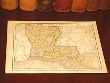 Antique Original 1895 Map LOUISIANA Shreveport Lafayette Baton Rouge Kenner LA