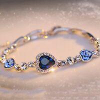 Frauen Ozean Blau Kristall Strass Herz Armreif Geschenk Mode