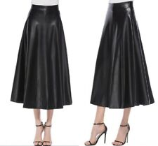 Women High Waist Long Maxi Skirts Swing PU Leather Flared Pleated A-Line Dress