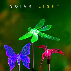 Creative Art Solar Lamp Outdoor LED Lawn Light Butterfly Dragonfly Garden Lights