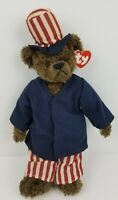 "TY Beanie Buddies Collection 2003 Plush Patriotic Bear Red Stars 14"" Retired"