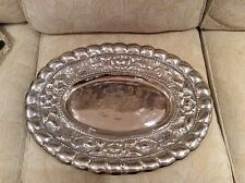 Vintage large oval metal serving platter hammered Mexican scalloped silver tray