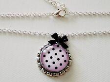 Halskette, rosa mit Dots, Rockabilly Schmuck, Cabochon Kette mit Pünktchen