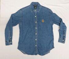 Lauren Ralph Lauren Womens Long Sleeve Button Up Denim Blue Jean Shirt-Small