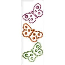 "MAMBI ""RHINESTONE BUTTERFLY STICKERS"" 3 Gorgeous Colored Stickers RW-171"