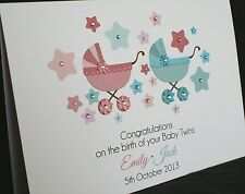 LARGE A5 Handmade Personalised New Baby TWINS / TRIPLETS Card