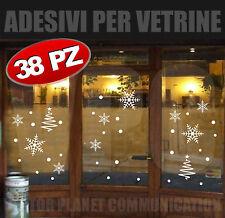 stickers natale 38 adesivi vetrine vetrofanie fiocchi neve cristalli alberi