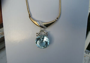 Huge Santa Maria sky blue 50 carat Aquamarine & Diamond 18k &14k gold necklace