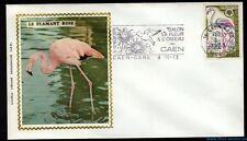 █ Enveloppe illustrée soie n° 1634 Le FLAMANT ROSE de 1970 avec flamme Caen-Gare