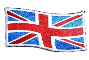 EMBROIDERED BRITISH FLAG PATCH iron on/sew on GB cloth badge Red White Blue wind