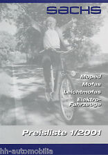 Sachs Preisliste Moped Mofa Leichtmofa Elektrofahrzeuge 1/01 price list 2001