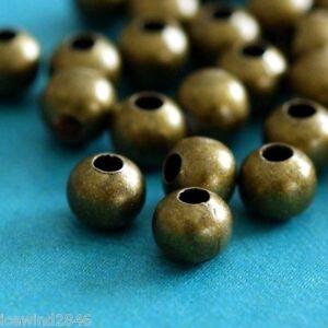 200pcs Antique Bronze Crimp Round Spacer Beads 4mm