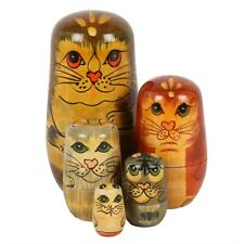 Cat / Cats - Hand Painted Russian Doll Set - 5 Dolls - BNWT