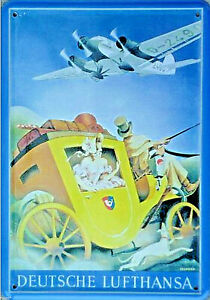 German Lufthansa Stagecoach Carriage Travels - 4 5/16in x 3 1/8in Tin Sign