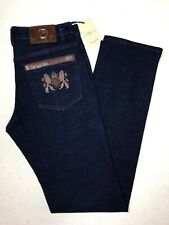Umberto Bilancioni Jeans Gold Hardware Brown Leather Accents Size 33/33