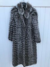 Women Silver Fox Long Fur Coat (Size: Medium)