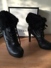 Gucci 40 Uk 7 Ankle Boots, Real Fur, Fab!