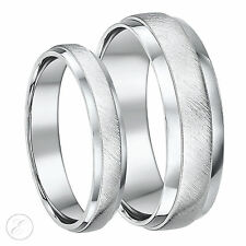 Palladium Wedding Rings 4&6mm D Shape Matt & Polished Couple Set Designed Bands