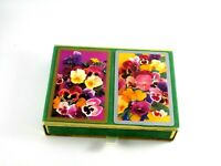 Vintage Congress Playing Cards Double Deck Green Velvet Case Floral Theme