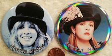Stevie Nicks Pin Button Set Then and Now Holographic Fleetwood Mac Rare