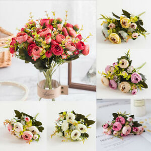 10Head Artificial Peony Silk Flowers Real Touch Wedding Party Bouquet Home Decor