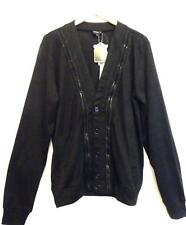 TOPMAN PEOPLES MARKET (SIZE L) RRP £51 BLACK KNITTED ZIP DESIGN CARDIGAN